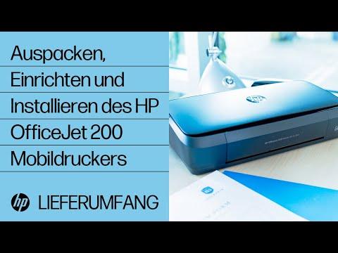 Auspacken, Einrichten und Installieren des HP OfficeJet 200 Mobildruckers