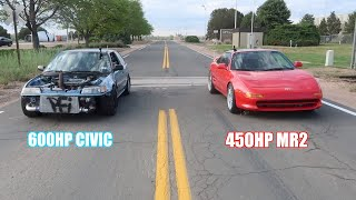 600Hp Civic Calls Out The Red Mr2!