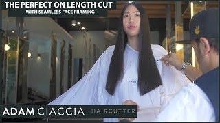    One Length Cut with Seamless Face Framing on Asian Hair    - Australian Korean Model Jinhee