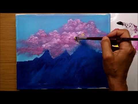 Nuvens Pink e Montanhas