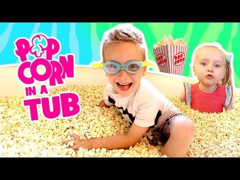 Kids do the Popcorn Bath Tub Challenge! Food Challenge & Family Fun!