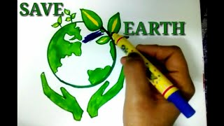 Save Earth Poster Tutorial For Kids || Save Earth, Save Environment Drawing.