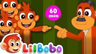 Five Little Monkeys Jumping On The Bed | Flickbox Kids Songs and Little Bobo Popular Nursery Rhymes