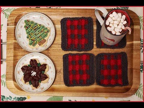How to Crochet Tutorial: DIY Buffalo Plaid Coasters by YARNutopia