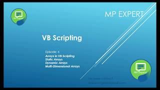 VB Script Episode: 6 (Arrays in VB Script)