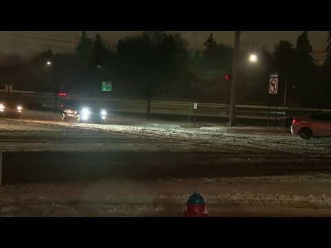 Slick roads across Metro Detroit Thursday night