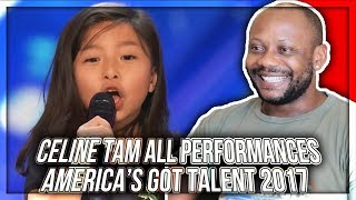 Celine Tam - ALL Performances America's Got Talent 2017 REACTION!!!