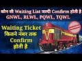 Which Waiting List Of Indian Railway (IRCTC) Is Confirmed Quickly - GNWL, RLWL, PQWL And TQWL