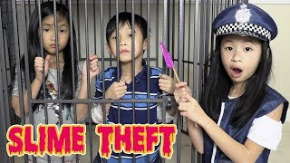 Pretend Play Police LOCKED UP Kaycee for STEALING SLIME