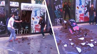 Hangry Crowd Devours Chocolate Berlin Wall on Anniversary