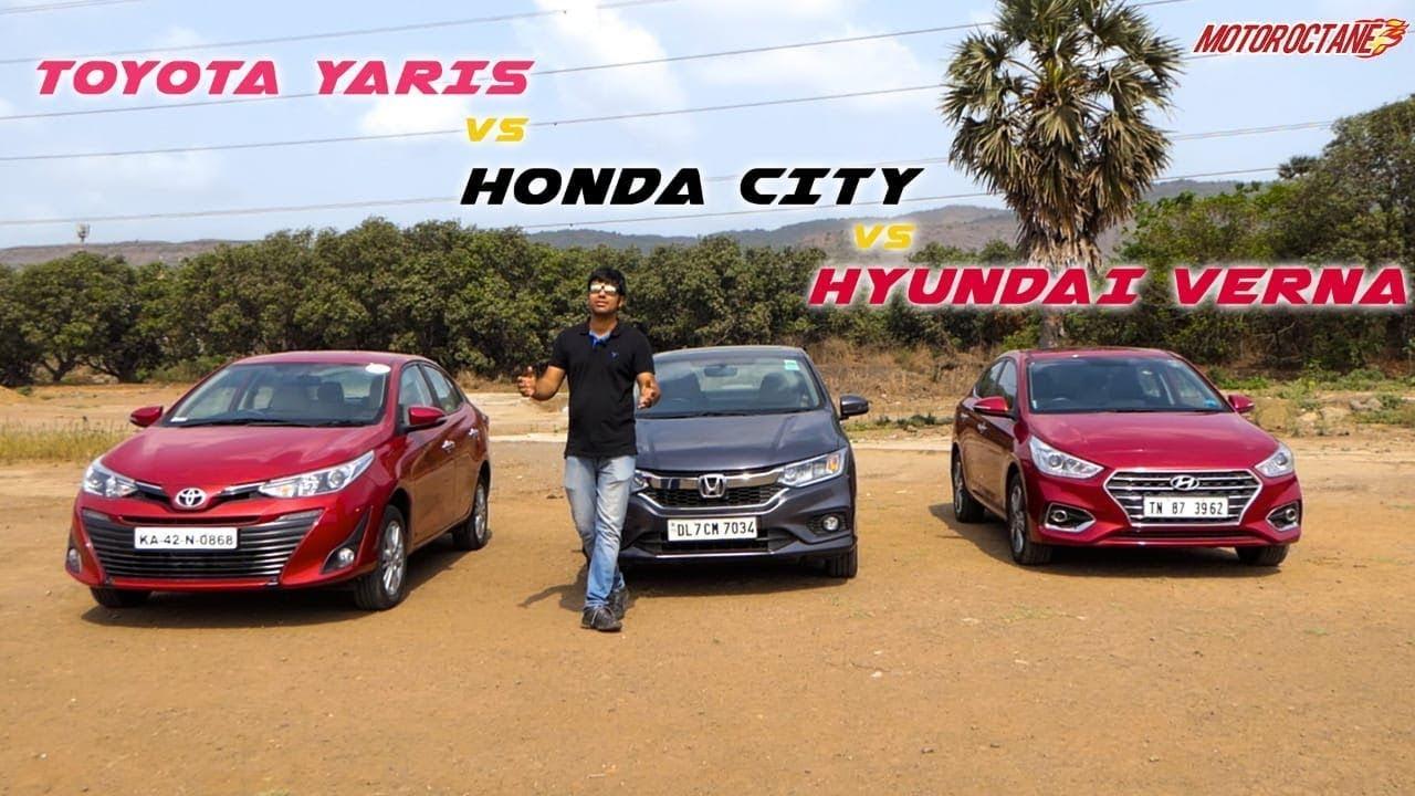 Motoroctane Youtube Video - Toyota Yaris vs Honda City 2018 vs Hyundai Verna Comparison in Hindi | MotorOctane