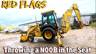 How NOT to run a TLB- tractor, loader, backhoe. Red Flags & Dangerous Mistakes 4 k video