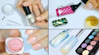 ЛАЙФХАКИ - Лак для ногтей своими руками ♥ 3 Дизайна Ногтей при помощи косметики