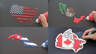North America Flag Map Pancake Art - USA, Mexico, Canada, Cuba