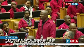 Malema and several other EFF MPs objected to the presence of apartheid-era president FW de Klerk. Courtesy of #DStv403