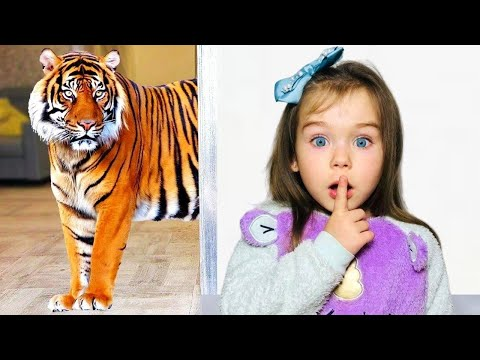 София и мама играют с питомцами и устроили домашний зоопарк