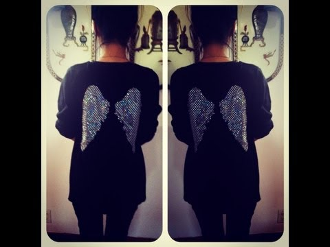 D.I.Y Angel Wing Design on the back of an old Sweater/Tshirt