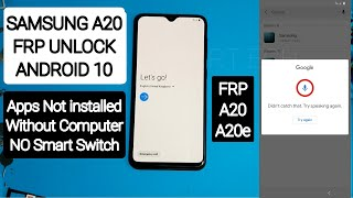 Samsung A20/A20e FRP/Google Account locked Bypass Android 10 Apps not installed NO Smart Switch