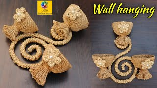 Wall Hanging Flower Vase With Plastic Bottle And Jute Rope | Wall Showpiece | Jute Craft Decoration