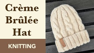 How to Knit: Crème Brûlée Cable Hat on Straight Needles - Size 5 mm. Bulky Yarn. Fur Pom.