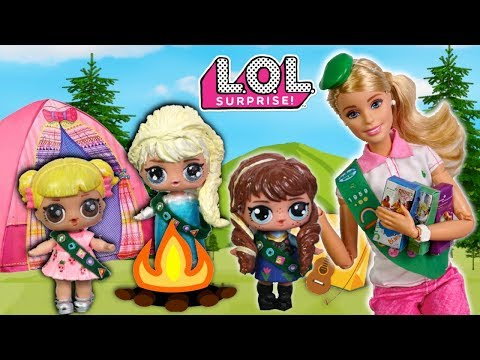 LOL Frozen Family Goes Camping with Barbie Girl Scout & Baby Goldie