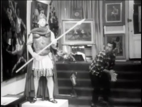 Humor video E-cards, Peter Funt age 16 pretends to be a statue in a New York City art gallery. Funny Humor