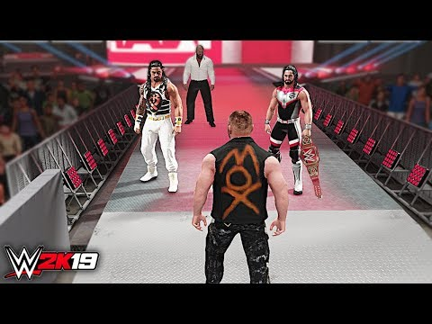 WWE 2K19 Custom Story - Jon Moxley Invades WWE Raw 2019 ft. Reigns, Lesnar