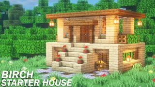 Minecraft Simple Birch Starter House Tutorial | How To Build A Starter House In Minecraft