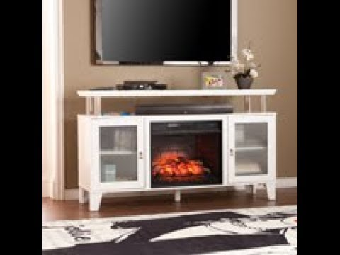Southern Enterprises Cabrini Electric Fireplace Media Console W/ Infrared Heater - White