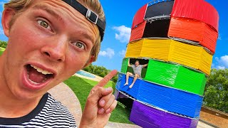 OVERNIGHT In 100 Layer Rainbow Duct Tape 6 Story HOUSE!