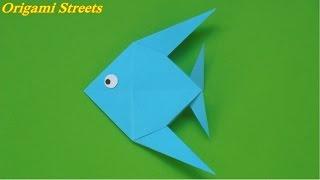 Оригами рыбка. Как сделать рыбку из бумаги. Origami fish