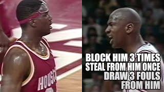 Michael Jordan Makes Hakeem Olajuwon Looks Like A BAD PLAYER! Block Him 3 TIMES! (1991.03.25)