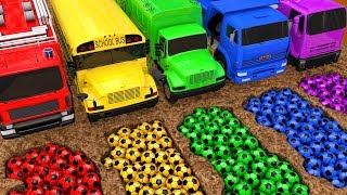 Learn Colors with Street Vehicle VS PACMAN Surprise SoccerBall in Magic Slide Sand for Kids