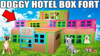 3 STORY DOG BOX FORT HOTEL!! 📦🐶 Boxfort hotel de le dog!