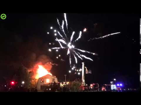 House with fireworks burned down with a great firework show