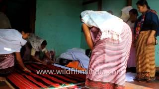 Brides Aunts Prepare Grooms Wedding Gift Of Bedding : India