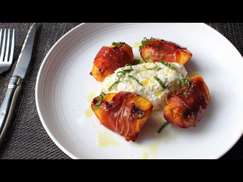 Grilled Prosciutto-Wrapped Peaches with Burrata & Basil – Summer Appetizer or Savory Dessert