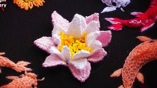 3D Embroidery | Japanese Pond | Water Lily Flower |