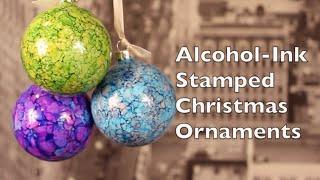 DIY Christmas Decorations | How To Make Alcohol Ink Stamped Christmas Decorations