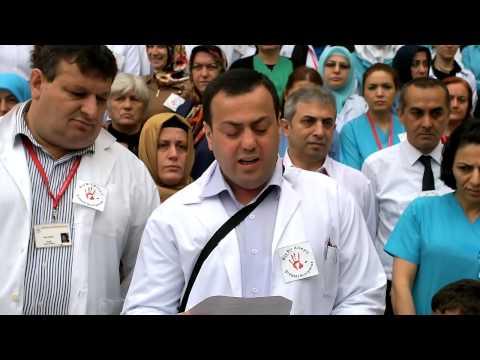 Katledilen doktorumuz Dr.Kamil Furtun için hastanemiz bahçesinde yapılan basın açıklaması