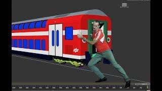3ds max движение поезда по рельсам вращение колес, две опоры вагонов на ходовых частях