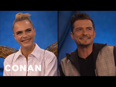 Cara Delevingne and Orlando Bloom Explain The Mechanics Of Fairy Sex - CONAN on TBS (видео)
