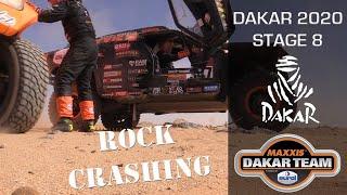 Dakar stage 8 - Crash on a rock and nice dunes of Saudi Arabia in Dakar Rally 2020