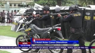2 Mobil Water Canon Dikerahkan Saat Simulasi Pengamanan Gangguan Pilkada Aceh  NET 16