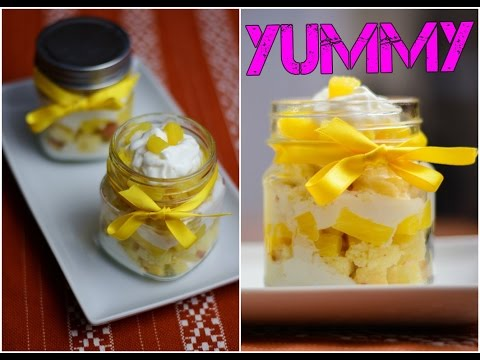Video Pinapple Cake in a Jar.  How to make Cake in a Jar. Simple Easy Tasty Desserts
