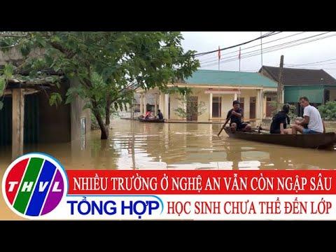Nhiều trường ở Nghệ An còn ngập sâu, học sinh chưa thể đến lớp