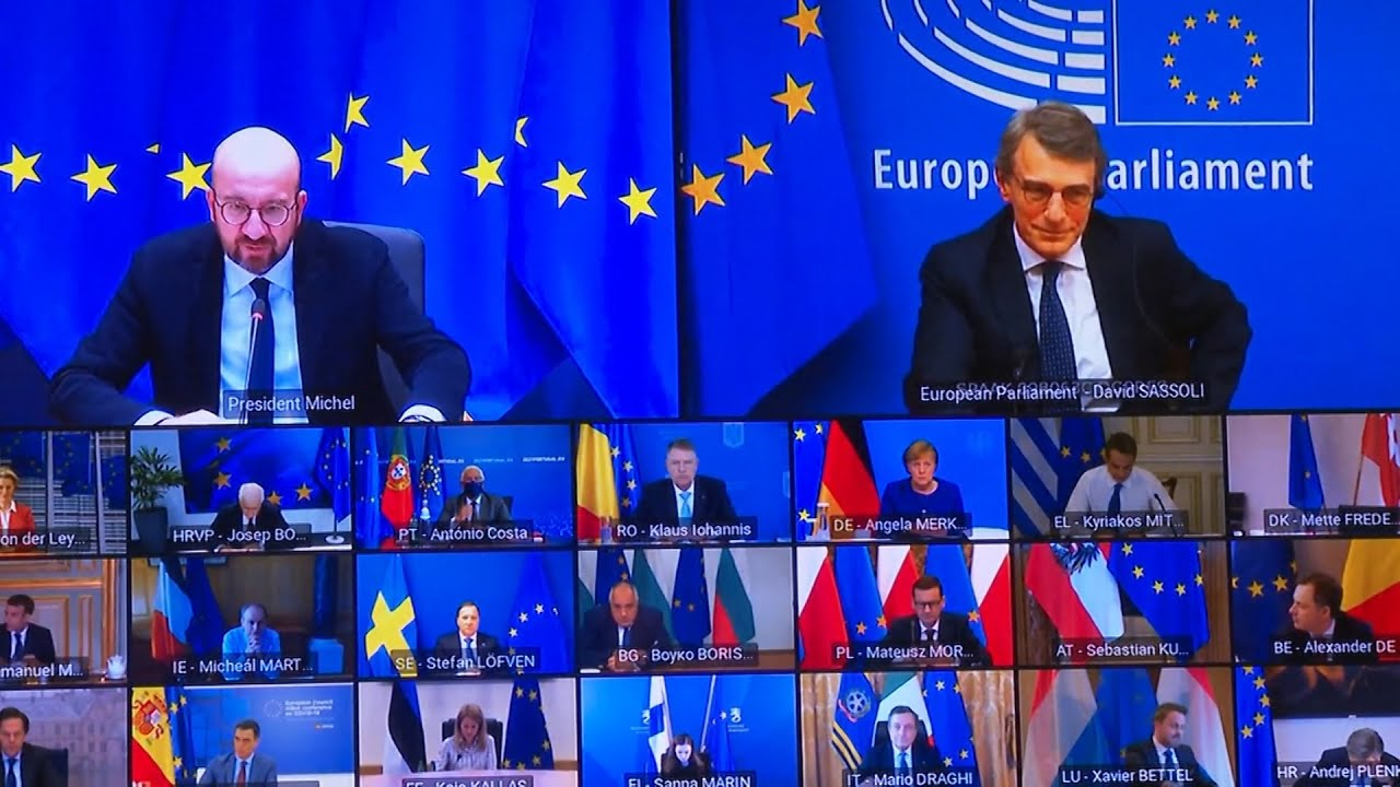 Βιντεοδιάσκεψη των μελών του Ευρωπαϊκού Συμβουλίου