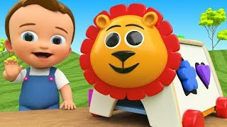 Learn Colors & Shapes for Kids  with Little Baby Fun Play Lion Shapes Wooden Toy Set 3D Children Edu