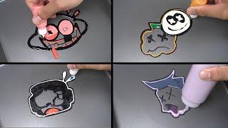 Friday night Funkin Death & Miss Emoji Pancake art - Lemon Demon, Ugh, Skid and Pump, Dad (FNF)
