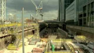 preview picture of video 'Construction progress at Canary Wharf Crossrail station, June 2011'